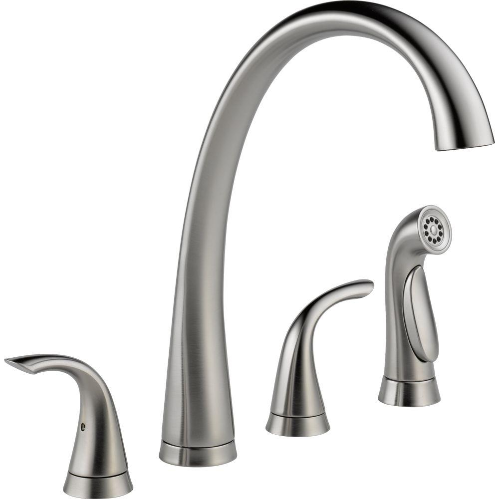 Delta Pilar 2 Handle Standard Kitchen Faucet With Side Sprayer In