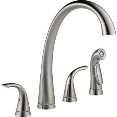 Pilar 2-Handle Standard Kitchen Faucet with Side Sprayer in Arctic Stainless