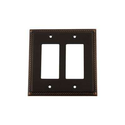 Rope Switch Plate with Double Rocker in Timeless Bronze