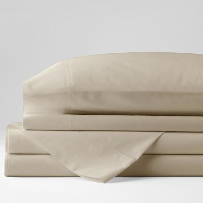 Organic 4-Piece Oat Solid 300-Thread Count Cotton Percale Queen Sheet Set
