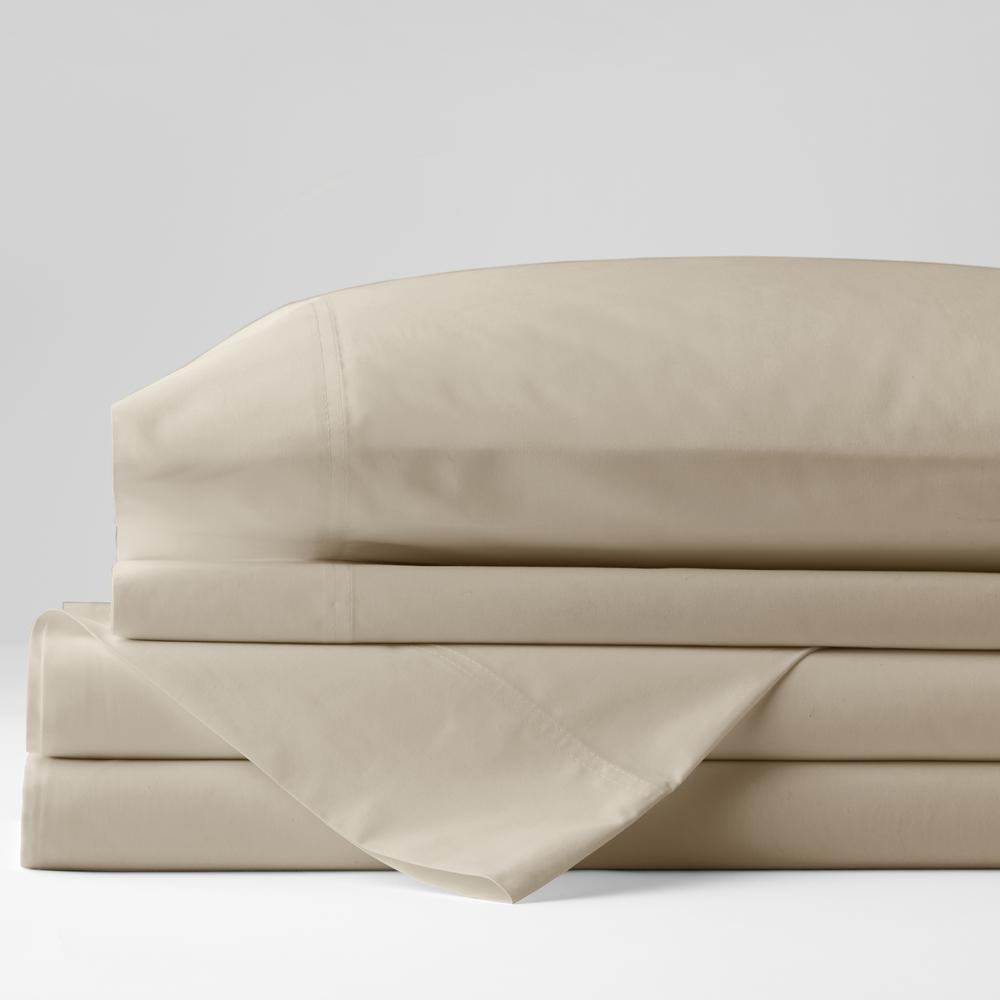 Organic 3-Piece Oat Solid 300 Thread Count Cotton Percale Twin XL Sheet Set