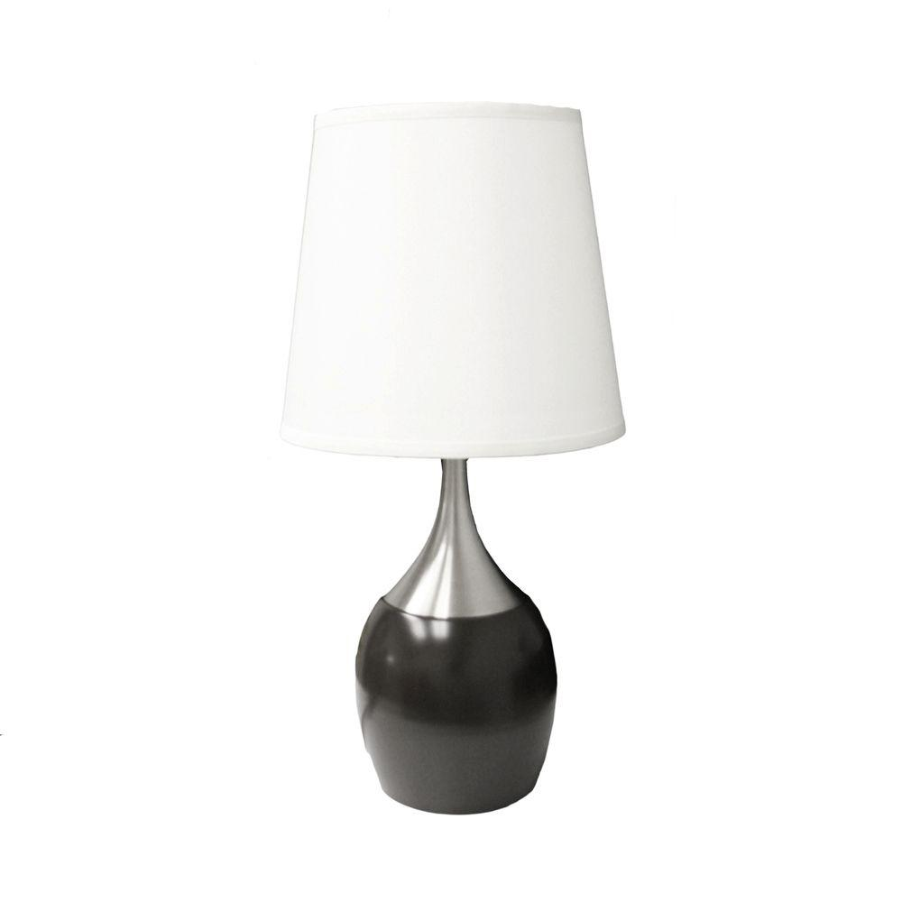 Ore International 24 In Touch On Espresso Silver Table Lamp