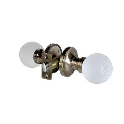 Smiley Face Crystal Antique Brass Privacy Bed/Bath Door Knob with LED Mixing Lighting Touch Activated