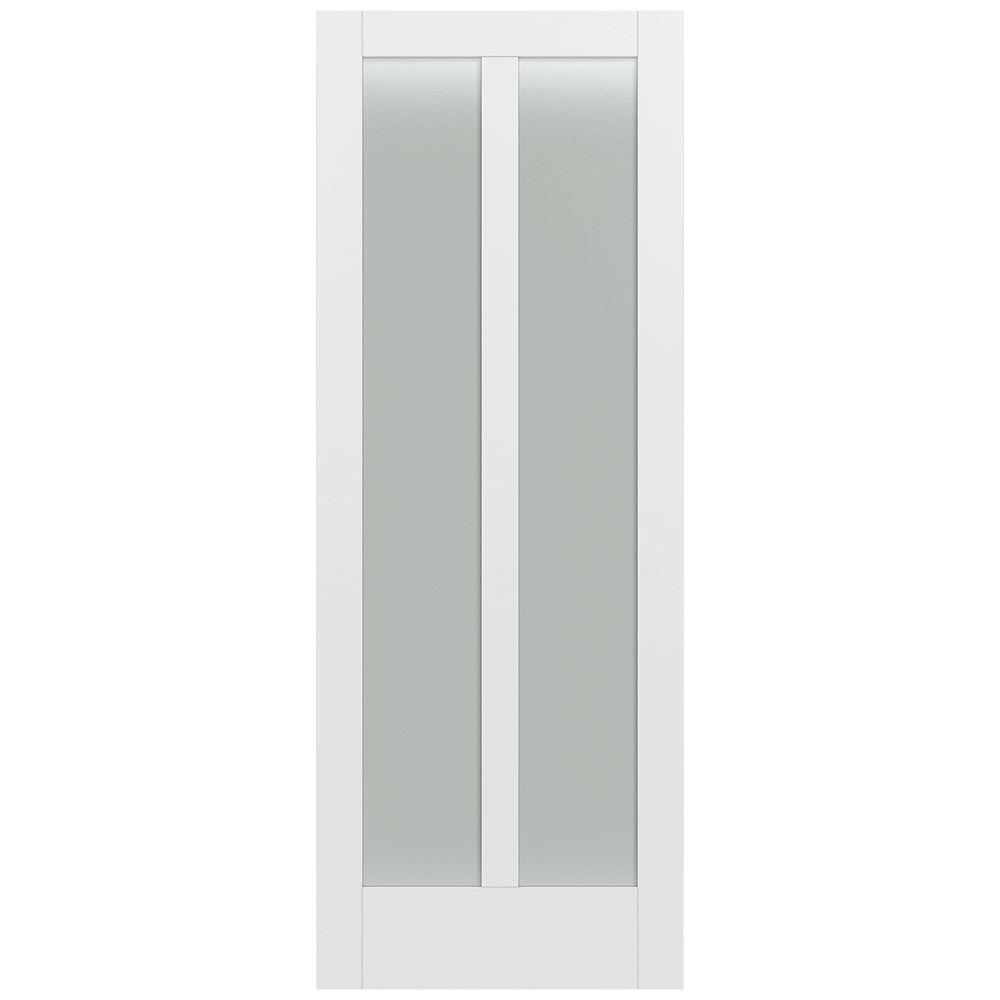 Jeld-Wen 36 in. x 96 in. Moda Primed PMT1024 Solid Core Wood Interior Door Slab w/Translucent Glass