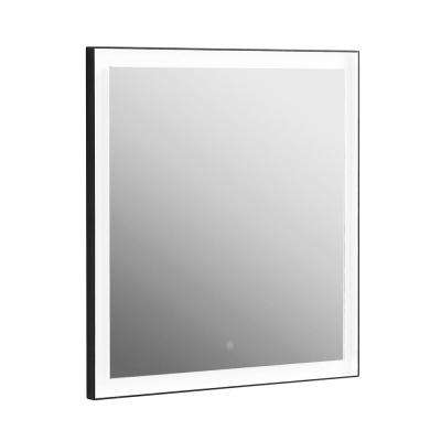 30 in. x 32 in. Framed Single Rectangle Bathroom LED Mirror with Warm and Cool Color Temperature in Aluminum