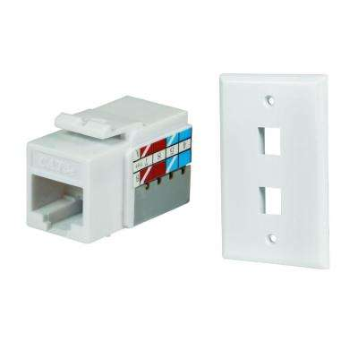 2-Port Wall Plate and Category 5E Jack in White (10-Pack)