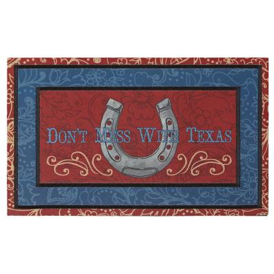 Border Frame Don't Mess with Texas 18 in. x 30 in. Recycled Rubber Door Mat