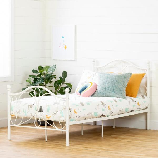 South Shore Country Poetry White Twin Bed