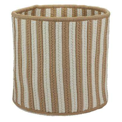 Natural 12 in. D x 12 in. W x 10 in. H Vertical Stripe Round Basket