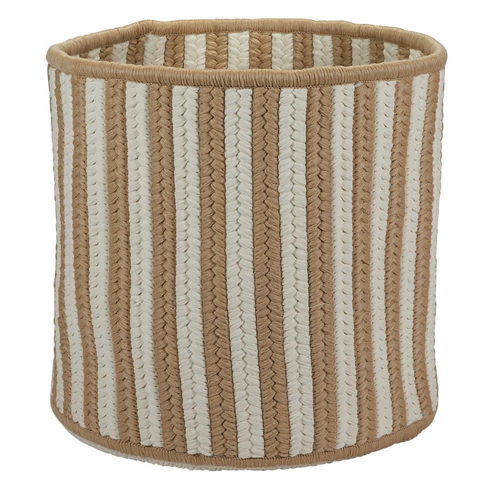 Natural 12 in. D x 12 in. W x 10 in. H Vertical Stripe Round Basket