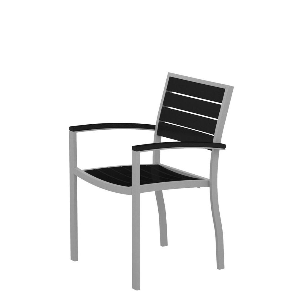 Euro Textured Silver Aluminum/Plastic Outdoor Dining Arm Chair in Black Slats