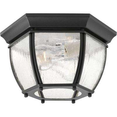 Roman Coach Collection 2-Light Black Outdoor Flushmount