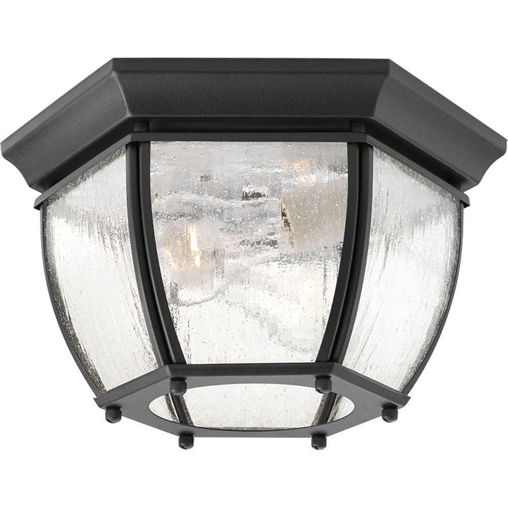 Roman Coach Collection 2-Light Black Outdoor Flushmount