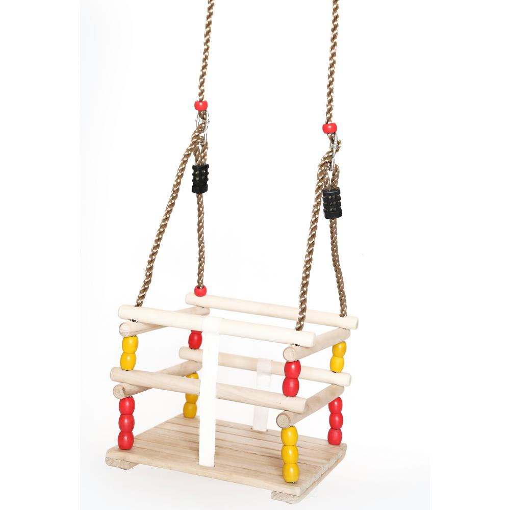 Outdoor Baby Swing >> Playberg Wooden Baby And Toddlers Swing With Hanging Ropes Qi003378