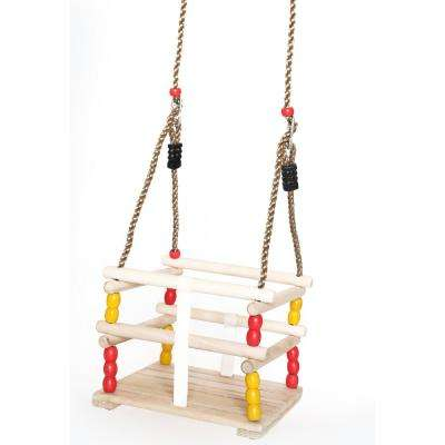 Wooden Baby and Toddlers Swing with Hanging Ropes
