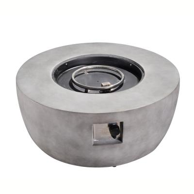 Outdoor 36 in. W x 15 in. H Round Concrete Gas Fire Pit