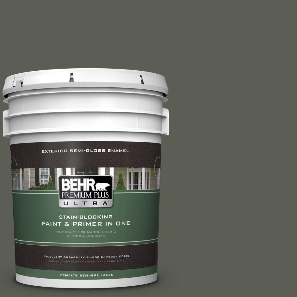 BEHR Premium Plus Ultra 5-gal. #N380-7 Black Bamboo Semi-Gloss Enamel Exterior Paint