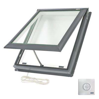 21 in. x 26-7/8 in. Fresh Air Electric Venting Deck-Mount Skylight with Laminated LowE3 Glass