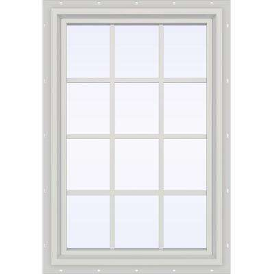 35.5 in. x 47.5 in. V-4500 Series Fixed Picture Vinyl Window with Grids in White