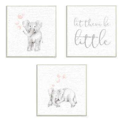 """12 in. x 12 in. """"Let Them Be Little Elephants And Bubbles"""" by Studio Q Printed Wood Wall Art"""