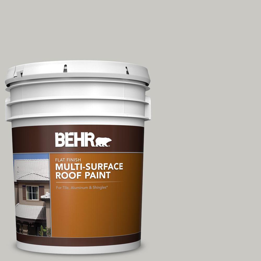 Behr 5 Gal Ms 79 Silver Gray Pebble Flat Multi Surface Exterior Roof Paint