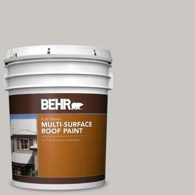 5 gal. #MS-79 Silver Gray Pebble Flat Multi-Surface Exterior Roof Paint