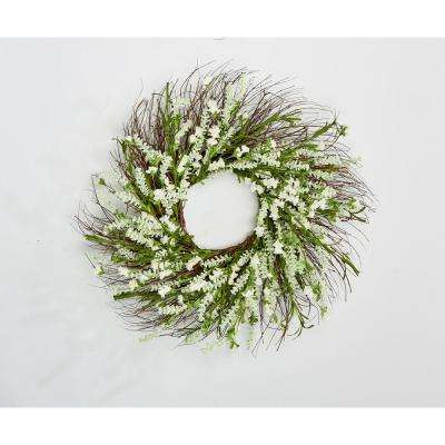 22 in. Lavender Wreath on Twig Base in White