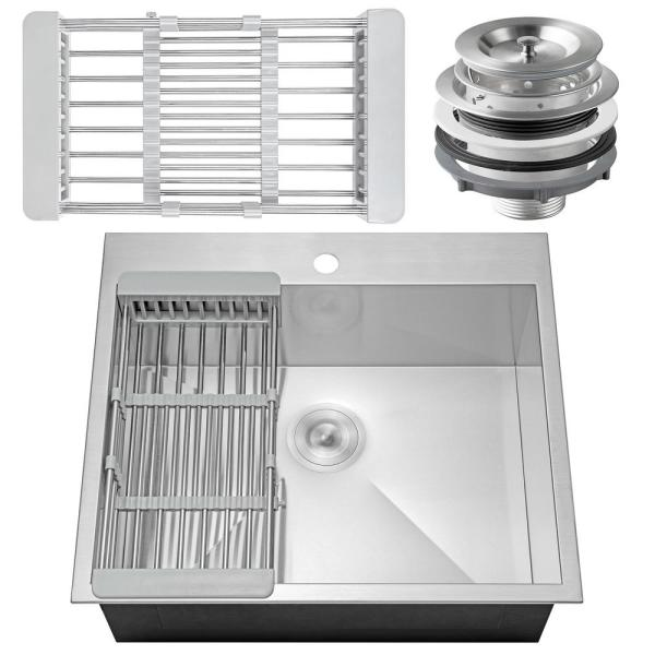 Akdy Handmade Drop In Stainless Steel 25 In X 22 In Single Bowl Kitchen Sink With Drying Rack Ks0095 The Home Depot
