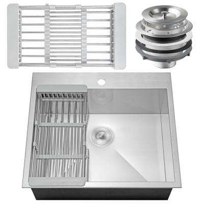 Handcrafted All-in-One Drop-In Stainless Steel 25 in. x 22 in. x 9 in. Single Bowl Kitchen Sink with Tray and Drain