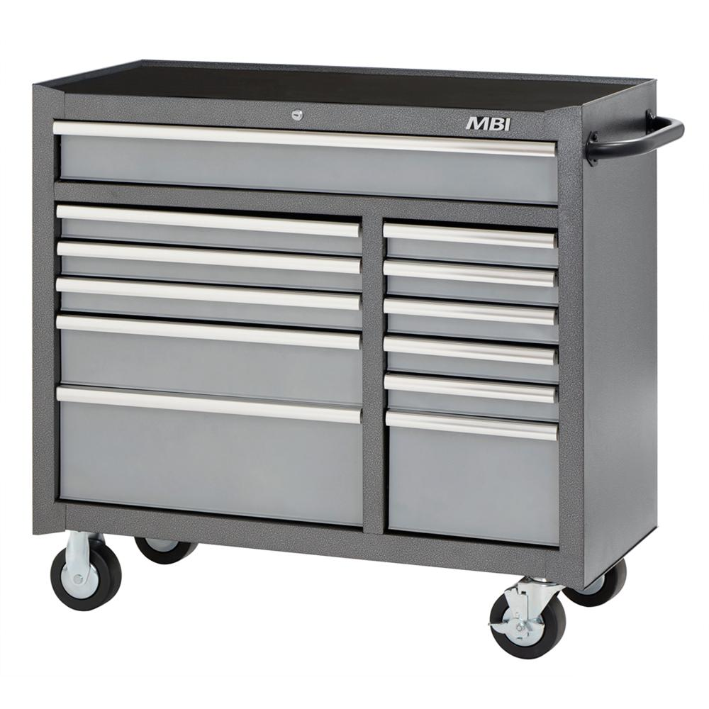 41 in. 12-Drawer Center Roller Cabinet Tool Chest in Silver Vein