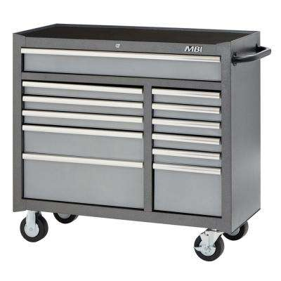 41 in. 12-Drawer Mobile Work Center Silver Vein