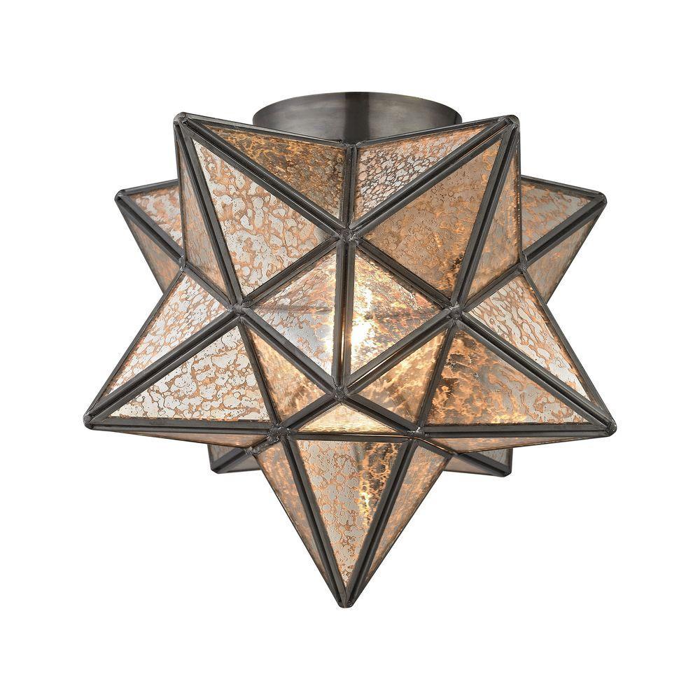 Moravian Bronze Star Flush Mount