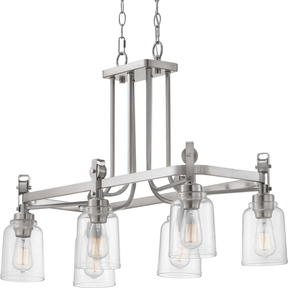 Home Decorators Collection Knollwood 6-Light Brushed Nickel Chandelier with Clear Glass Shades