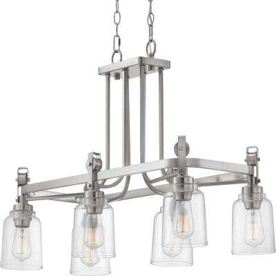 Knollwood 6-Light Brushed Nickel Chandelier with Clear Glass Shades