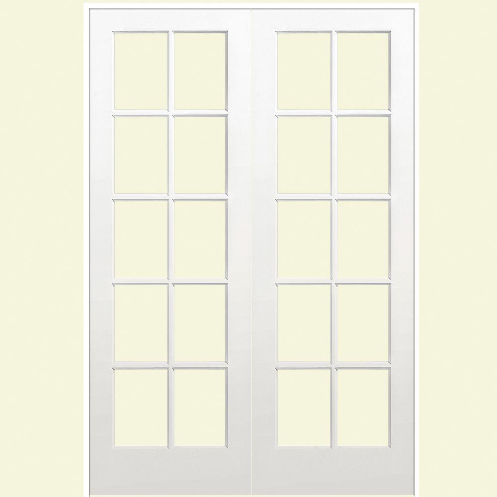 Masonite 60 in x 80 in 10 lite primed white hollow core smooth masonite 60 in x 80 in 10 lite primed white hollow core smooth pine prehung interior french door 468338 the home depot planetlyrics Gallery