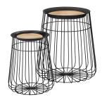 Home Decorators Collection Round Black Metal Decorative Basket with Wood Lid (Set of 2)