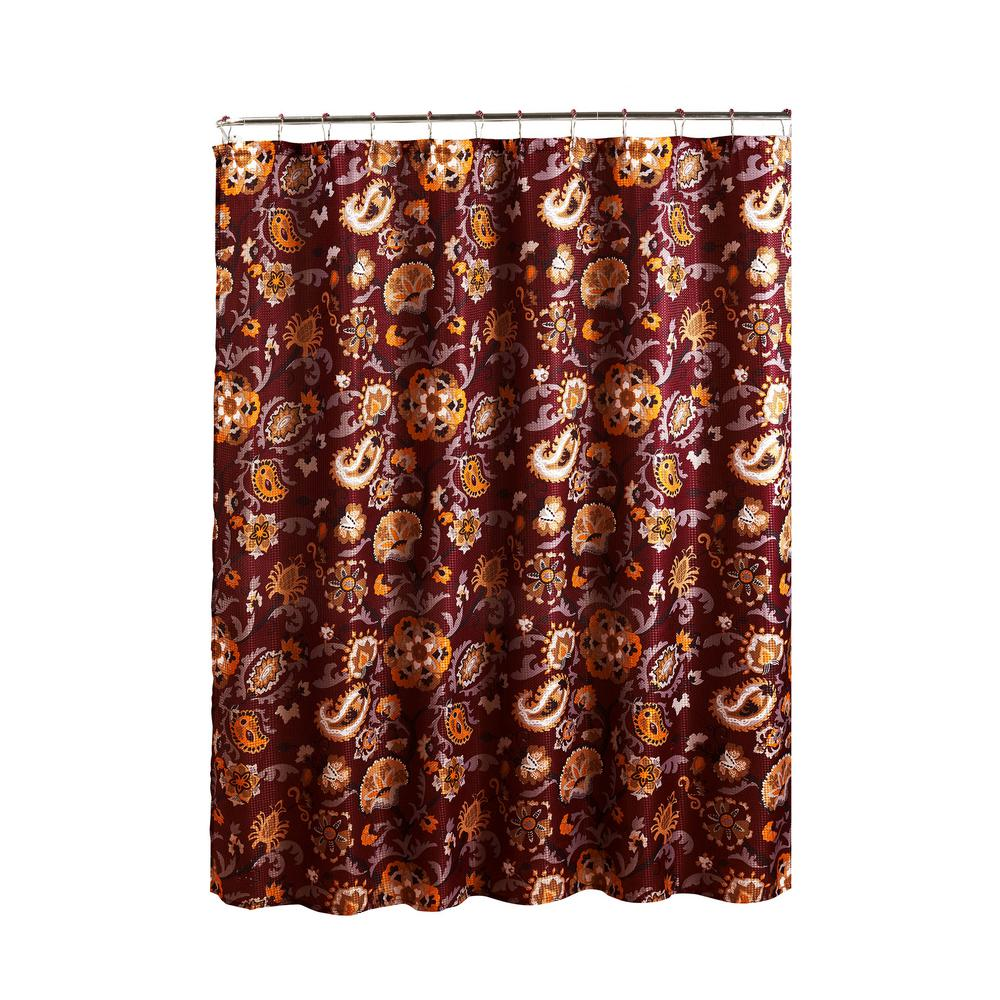 Creative Home Ideas Diamond Weave Textured 70 in. W x 72 in. L Shower Curtain with Metal Roller Rings in Henna Barn