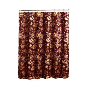 Creative Home Ideas Diamond Weave Textured 70 inch W x 72 inch L Shower Curtain with Metal Roller Rings in Henna Barn by Creative Home Ideas