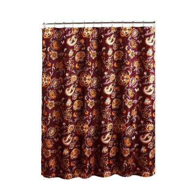 Diamond Weave Textured 70 in. W x 72 in. L Shower Curtain with Metal Roller Rings in Henna Barn