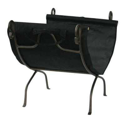 Bronze Finish 23 in. W Firewood Rack with Canvas Carrier