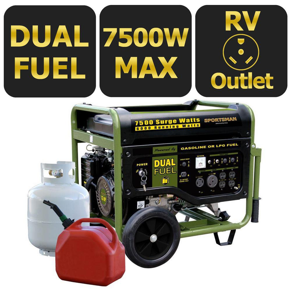 Sportsman 7,500-Watt Dual Fuel Powered Portable Generator with Electric Start and Runs on LPG or Regular Gasoline