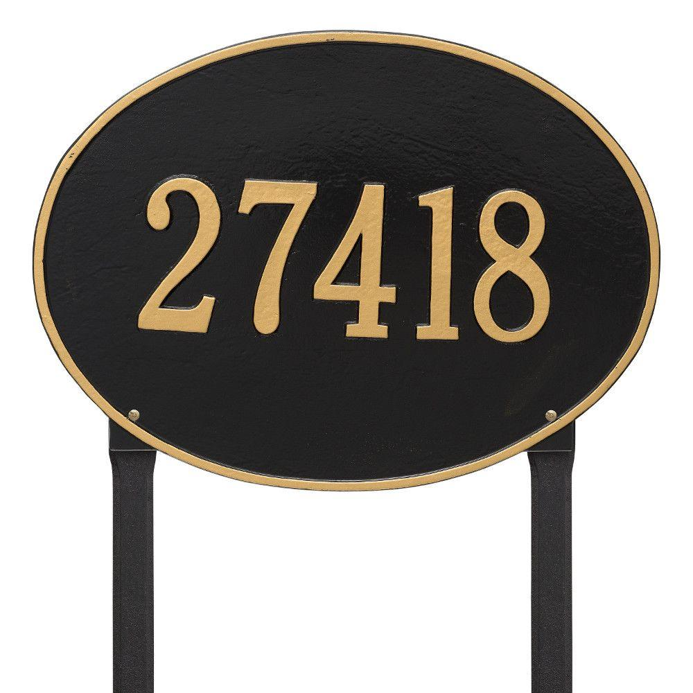 Hawthorne Estate Oval Black/Gold Lawn 1-Line Address Plaque