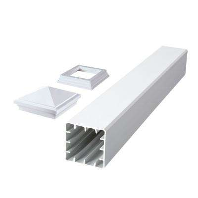 Symmetry 5 in. x 5 in. x 45 in. Tranquil White Capped Composite Beveled Post Sleeve with Cap and Skirt