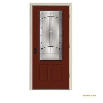 32 in. x 80 in. 3/4 Lite Idlewild Mesa Red w/ White Interior Steel Prehung Left-Hand Outswing Front Door w/Brickmould