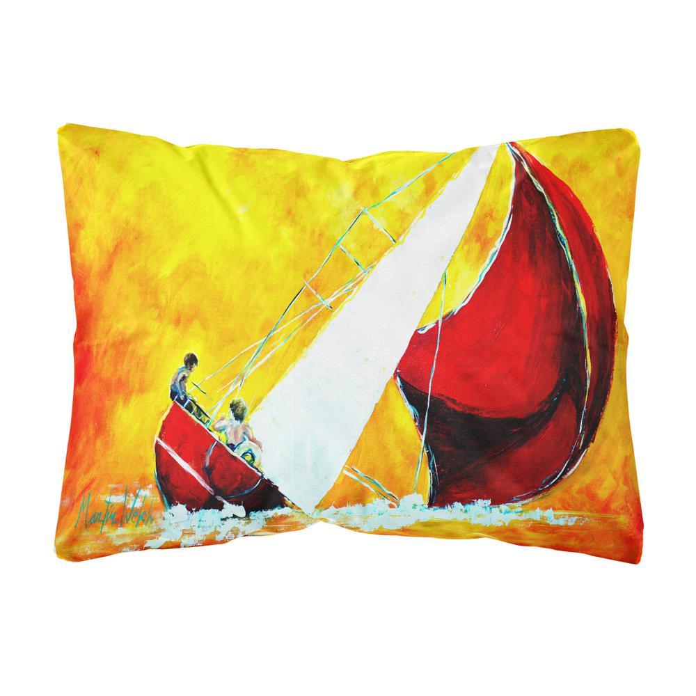 12 in. x 16 in. Multi-Color Lumbar Outdoor Throw Pillow Sailboat Break Away Fabric Decorative Pillow