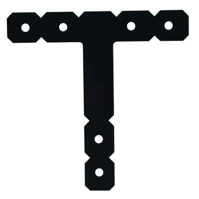 OT 12 in. x 12 in. Black Powder-Coated Ornamental T Strap