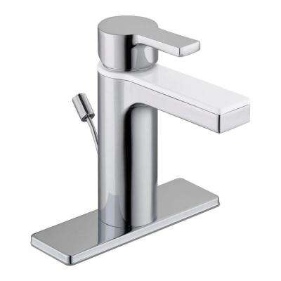 Modern Contemporary Single Hole Single-Handle Low-Arc Bathroom Faucet in Dual Finish Chrome and White