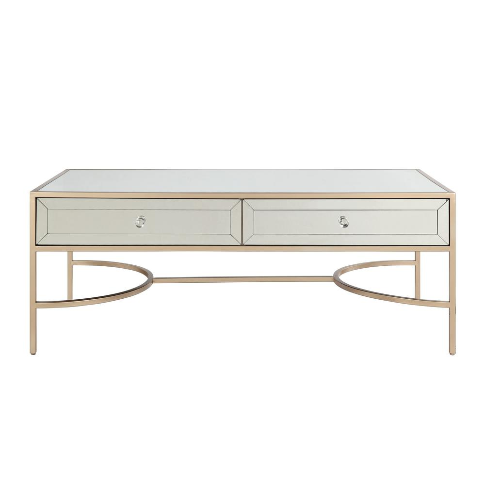 Rose Gold Mirrored Coffee Table: ACME Furniture Porviche White High Gloss And Rose Gold