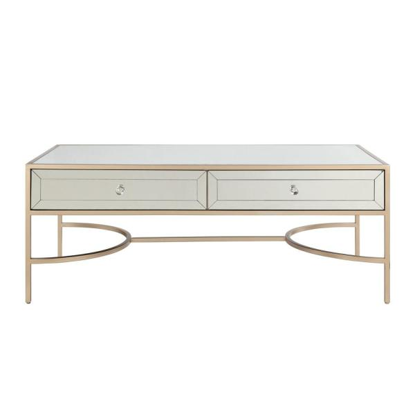 Acme Furniture Wisteria Mirrored and Rose Gold Coffee Table 80605