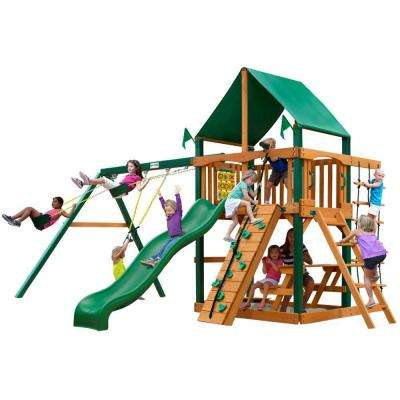 Chateau with Timber Shield and Deluxe Green Vinyl Canopy Cedar Playset